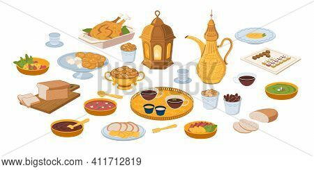 Iftar, Ramadan Banner With Food And Drinks Eating Isolated Set, Flat Cartoon. Vector Ftoor Muslims E