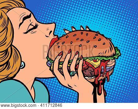 A Woman Eats A Burger, Lunch. Cartoon Comic Book Pop Art Illustration Drawing