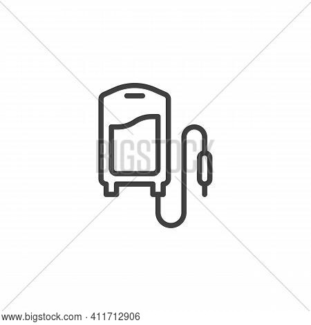 Intravenous Infusion Line Icon. Iv Bag Linear Style Sign For Mobile Concept And Web Design. Blood Ba