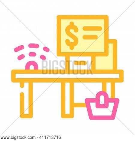 Self-service Checkout Color Icon Vector Illustration Line