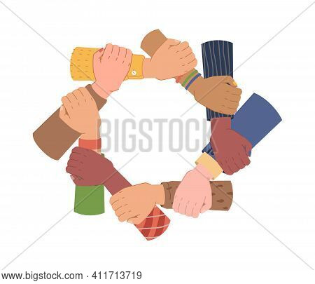 Hands Holding Each Other Making Circle, Togetherness And Unity, Ethnic Diversity. Vector Diverse Gro