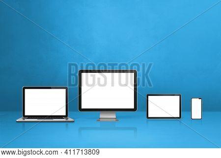 Computer, Laptop, Mobile Phone And Digital Tablet Pc - Blue Office Desk Background. 3d Illustration