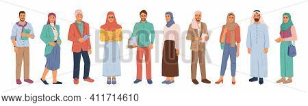 Modern Muslim People, Businessman And Businesswoman Isolated Flat Cartoon People Set. Vector Arabian