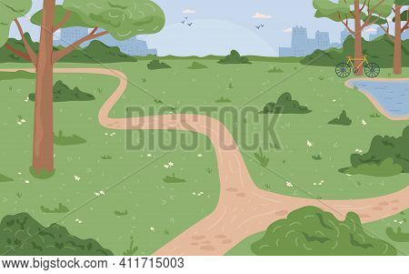 Park With Green Grass And Trees, River Lake Or Stream, City Scape Background. Vector Environment Nat