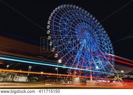 Rio De Janeiro, Brazil - January 4, 2021: Rio Star Ferris Wheel At Night Is Illuminated With Colorfu