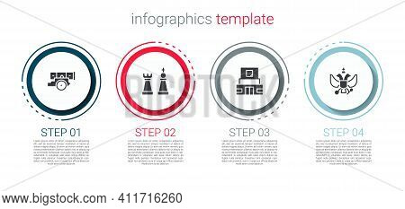 Set Cannon, Chess, Mausoleum Of Lenin And National Emblem Russia. Business Infographic Template. Vec