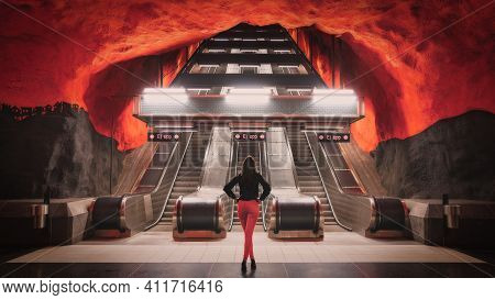 A Woman Stands Hopelessly At A One Way Escalator That Will Only Bring Her Back Down Into The Depths