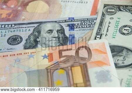 Bills Lying In One Space Dollars, Euro, One-dollar Bill, One-dollar Bill And Euro. Currency Backgrou