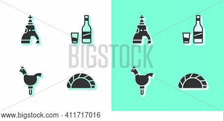 Set Dumpling, The Tsar Bell, Cockerel Lollipop And Bottle Of Vodka With Glass Icon. Vector