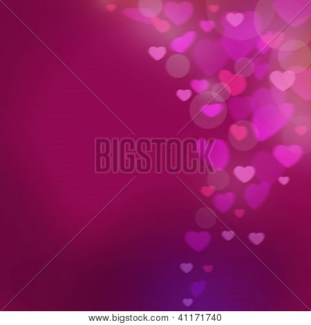 Pink Abstract Background With The Hearts Of Valentine