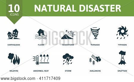 Natural Disaster Icon Set. Contains Editable Icons Natural Disaster Theme Such As Flood, Tornado, Wi