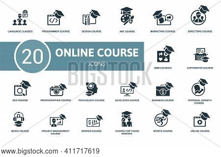 Online Course Icon Set. Contains Editable Icons Online Course Theme Such As Programmer, Art Course,
