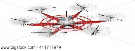 Unmanned Aerial Vehicle With Six Propellers For Cargo Delivery. 3d Illustration
