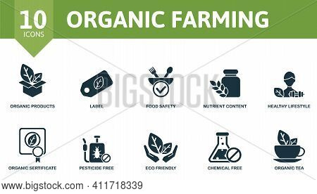 Organic Farming Icon Set. Contains Editable Icons Organic Farming Theme Such As Label, Nutrient Cont