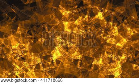 Abstract Texture Of Scratch, Dust, Smudges And Lines. Glowing Mandala Artwork. Creative Gold Metal G