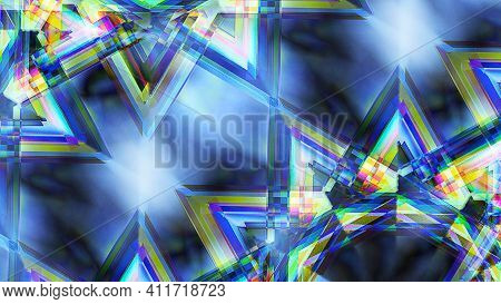 Creative Geometric. Abstract, Science, Futuristic, Energy Technology Concept. Blue Room. Blue Angle