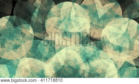 Teal Mandala Artwork. Smooth Spread Of Ink Explosion, Kaleidoscopic Background. Beautiful Multicolor