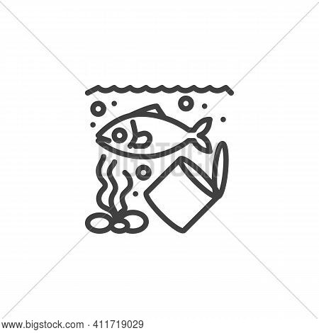 Ocean Pollution Line Icon. Linear Style Sign For Mobile Concept And Web Design. Water Waste Pollutio