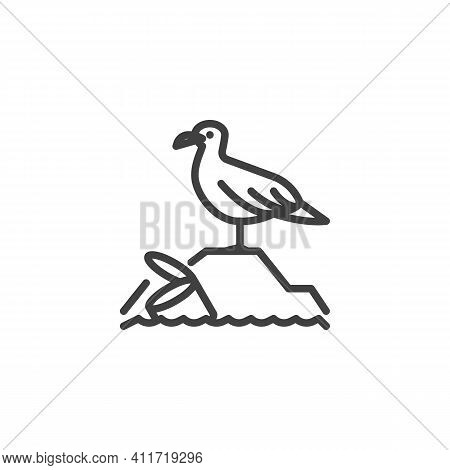 Plastic Pollution Seagull Line Icon. Linear Style Sign For Mobile Concept And Web Design. Water Plas