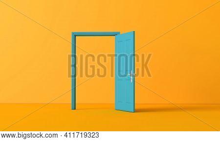 3d Rendering Of An Open Door. Business Opportunity Concept