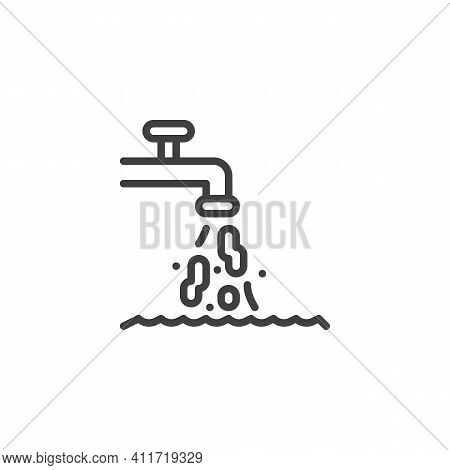 Dirty Tap Water Line Icon. Linear Style Sign For Mobile Concept And Web Design. Dirty Drinking Water