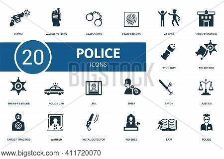 Police Icon Set. Contains Editable Icons Police Theme Such As Walkie-talkies, Fingerprints, Police S
