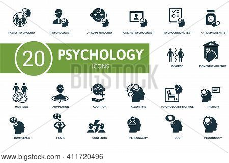 Psychology Icon Set. Contains Editable Icons Psychology Theme Such As Psychologist, Online Psycholog