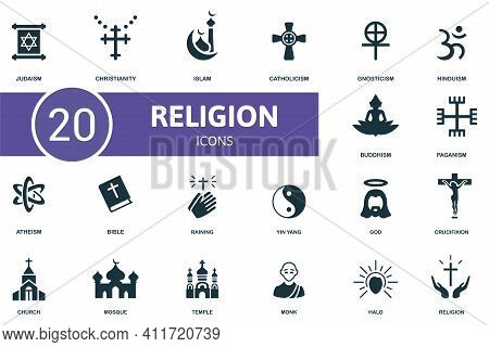 Religion Icon Set. Contains Editable Icons Religion Theme Such As Christianity, Catholicism, Hinduis