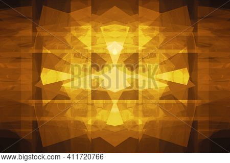 Gold Texture Of Scratch, Dust. Shining Golden Mosaic Glass Background. Creative Gold Metal Geometric