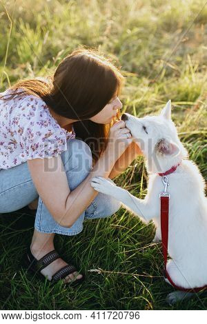 Woman Training Cute White Puppy To Behave And Caressing Him In Summer Meadow In Sunset Light