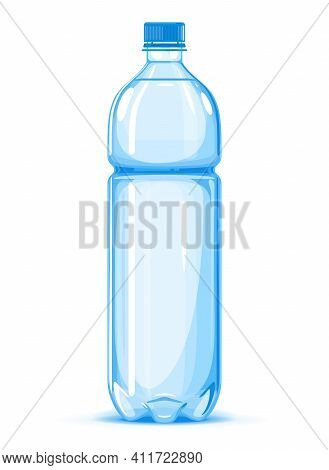One Half Liter Plastic Water Bottle Of Drinking Water Quality Illustration On White Background, Wate