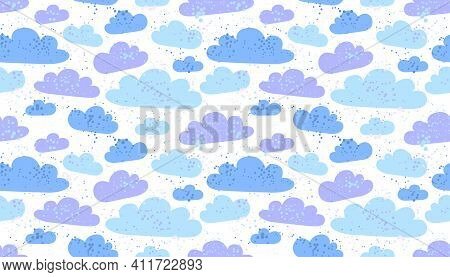 Clouds Seamless Vector Wallpaper, Endless Background Pattern With Cloudy Sky, Dreaming Fluffy Clouds