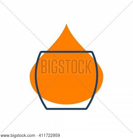 Modern Abstract Illustration With Glass Whiskey With Color Blob. Linear Outline Sign. Logo Illustrat