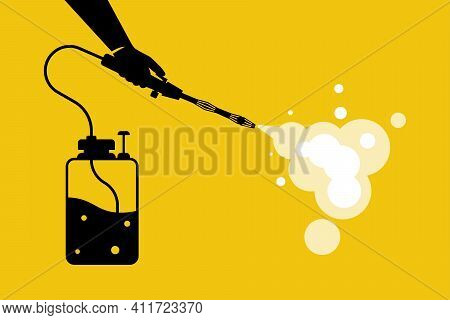 Cleaning And Disinfecting Coronavirus Black Silhouette Icon. Atomizer And Sprayer. Man In Hazmat Sui