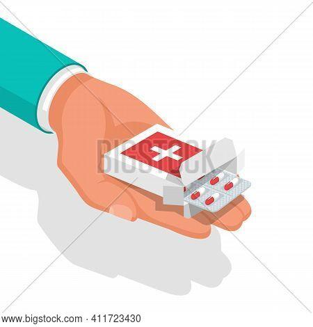 Taking The Pills. Doctor Holds In Hands Blister Capsule. Vector Illustration Isometric Design. Take