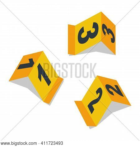 Evidence Signs, Set Of Yellow Markers With Numbers. Crime Scene Investigation. Collection Of Evidenc