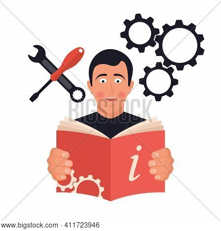 Reading Instructions. Happy Man With An Open Book. Mandatory Study Of The Tutorial. Guide For Use. I