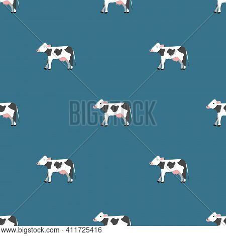 Seamless Vector Pattern With White Cows On A Green Background. Background For Textiles, Covers, Scre