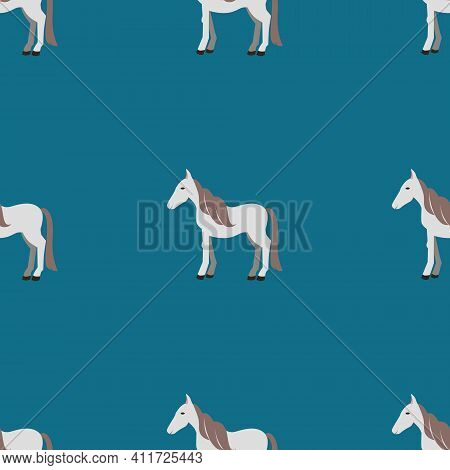 Seamless Vector Pattern With White Horses On A Green Background. Background For Textiles, Covers, Sc