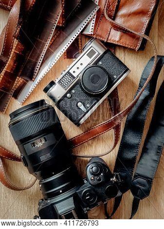Retro And Modern Slr Photo Cameras Flatlay