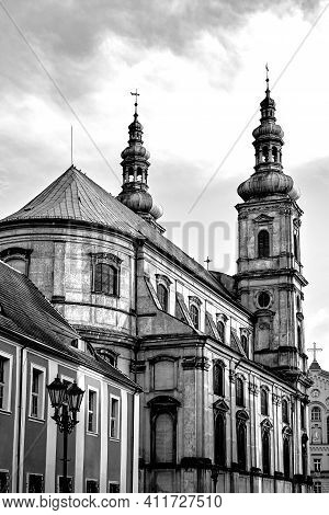 Belfries Of The Baroque Church Of The Jesuit Monastery In The City Of Nysa, Monochrome
