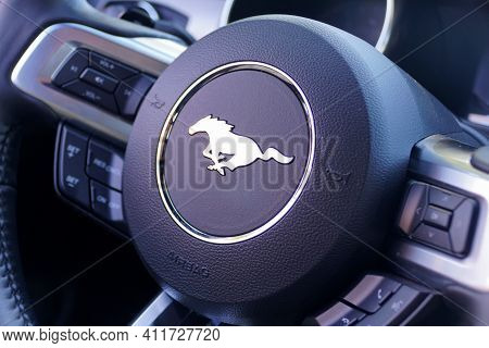 St Petersburg, Florida, U.s - February 16, 2021 - The Steering Of The Brand New 2021 Ford Mustang Sp