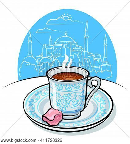 Illustration Of The Flavour Traditional Turkish Coffee On The Mosque Background In Istanbul.