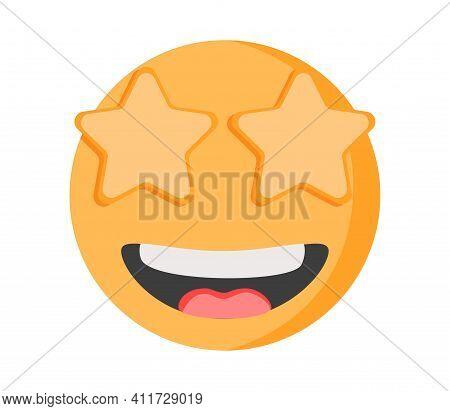 Star Struck Eyes Emoji Vector Art Illustration Design. Emoticon Expression Graphic Round. Avatar Kaw