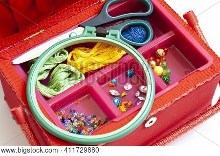 Creativity And Hobbies Embroidery And Sewing Scissors Thread And Embroidery Frame Beads Crystals In