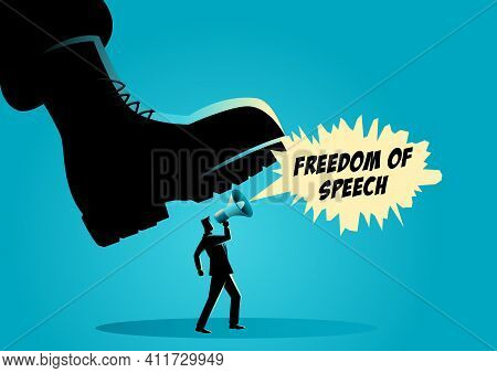 Vector Illustration Of A Giant Army Boot Trampling On A Man, Dictator, Freedom Of Speech, Authority