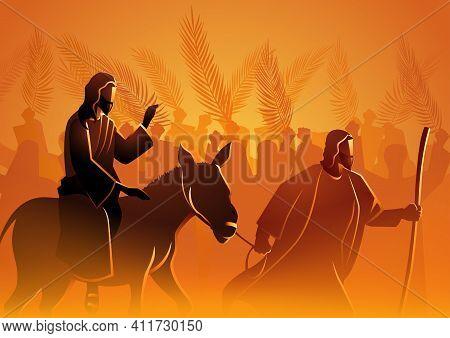 Biblical Vector Illustration Series, Jesus Comes To Jerusalem As King