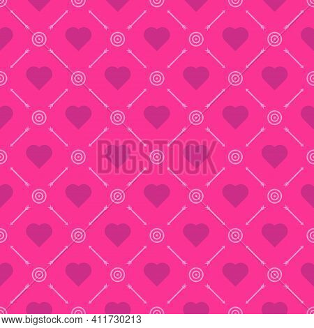 Seamless Pattern Hot Pink Color Background, Heart Shape Magenta Color, Arrow And Target Pink Color.