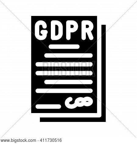 Gdpr General Data Protection Regulation In European Union Glyph Icon Vector Illustration