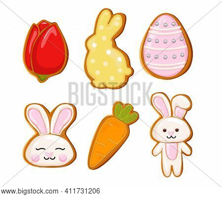 Easter Gingerbread Cookies Icon, Easter Holiday, Colored Eggs, Carrot And Bunny. Vector